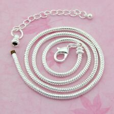 10x Fashion Silver /P Snake chain Necklace Fit European Charms Beads 45cm P12