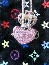 Regal GP & Pink Rhinestone Betsey Johnson Heart & AB Crown Pendant Necklace