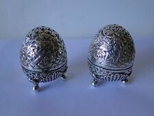 SALT & PEPPER SHAKER STERLING SILVER INDIA KASHMIR 1880 UNMARKED CHASED ENGRAVED