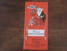 Wiener Gastlichkeit Wining and Dining in Vienna Austria 1968 Restaurant Guide