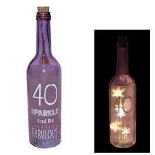 """""""40 Sparkle Be Fabulous"""" Starlight Battery Light Up Bottle - 40th Birthday Gift"""