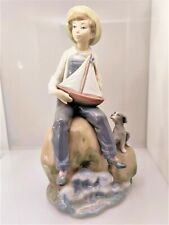 Lladro #5166 Sea Fever, Mint, Retired, Boy with Sail Boat & Dog
