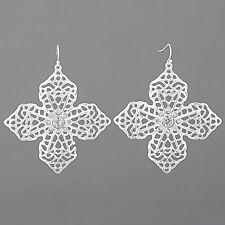 Rhodium Silver Dropped Flower Filigree Design Clear Stones Fish Hook Earrings