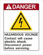 Danger Hazardous Voltage Contact Will Cause Electric Warning Vinyl Decal Sticker