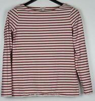 J CREW Women's Long Sleeve Top Round Neck White w/ Red Stripe Size XS
