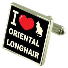 I Love My Cat Sterling Silver 925 Cufflinks Oriental Longhair