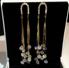 18k Gold GF Long Tassel Earrings made w/ Swarovski Crystal Stone Designer Style