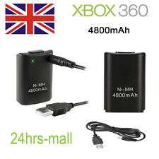 UK 2X 4800mAh Wireless Controller Rechargeable Battery Pack for Xbox 360 Black
