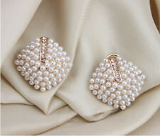 Temperament Pearl Rhinestone Earrings Geometry Rhombus Party Studs