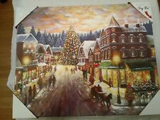 Christmas Scene Painting, Led Canvas, Printed