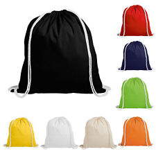 100% Natural Cotton Drawstring Rucksack Backpack Eco Tote Bag School Gym PE Book