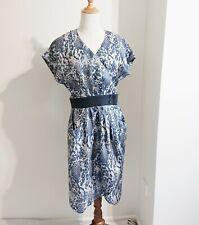 As New! HI THERE from KAREN WALKER Sz 12 Wrap Dress Steel Blue Beige Print