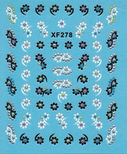 Nail Art 3D Decal Stickers Cute Flowers with Rhinestones Xf278