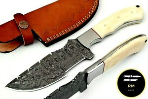 10''NEW HANDMADE DAMASCUS STEEL FULL TANG HUNTING KNIFE TRACKER KNIFE FIXED BLAD