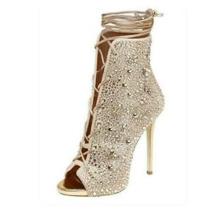 Womens Rhinestone Sandal Boots Peep Toe Stilettos High Heel Lace Up Party Shoes