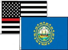 3x5 Usa Thin Red Line New Hampshire State 2 Pack Flag Wholesale Set Combo 3'x5'