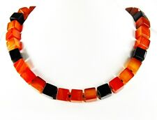 Gorgeous precious stone necklace made of Onyx and Carnelian in cube shape