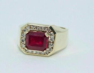 Men's 14k Yellow Gold Over 2.11CT Emerald Cut Ruby Halo Round Diamond Ring