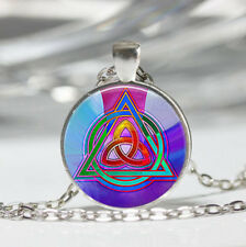 Triquetra photo Tibet silver dome Glass Cabochon Necklace chain Pendant #518