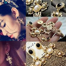 Fashion Jewelry Faux Pearl Gold Cross Flowers Stud Earrings Women Jewelry Gift