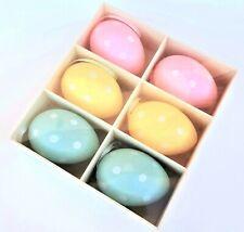 Set 6 Pastel Polka Dot Hanging Easter Eggs Decorations Gisela Graham