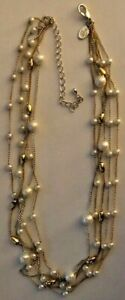 """Premier Designs Jewelry Melrose 16"""" + 3"""" Necklace 5 Strands Faux Pearls & Beads"""