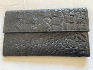 Vintage Mulberry dark brown notes, cards nile leather purse wallet - match bag!