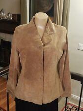 Women's Tan Suede Leather Blazer Brandon Thomas, Soft & Washable - Large