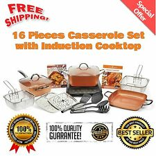 16Pcs Copper Chef XL Cookware Set Casserole Set Pan Lids + Induction Cooktop NEW