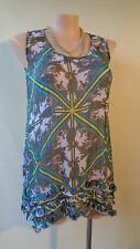 Millers plus size 16 blue green white sleeveless frilled top