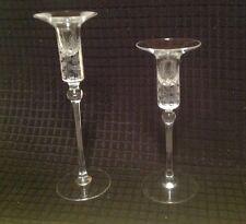 VINTAGE ROSENTHAL ETCHED GLASS CANDLESTICKS (2)
