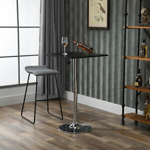 Modern Height Adjustable Bar Table with Square Tabletop and Metal Base Home Pub