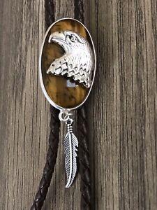 Tiger Eye Gemstone W Eagle Sterling Silver  Leather Bolo Bola Tie
