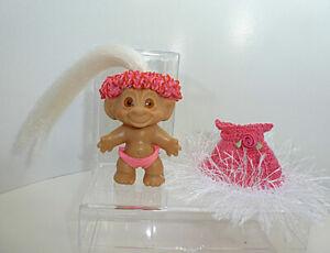 "Vtg Rootie 3"" Troll White Hair - Pink Crochet Dress w White Eyelash Trim"