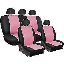 Coprisedili auto universali fodere complete rosa e nero omaggio portaborsetta
