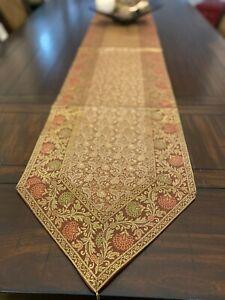 Brown Table Runner, Long, Brocade, 14 X 110 Inch, Silk,Formal, Beautiful,Paisley