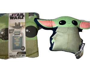 Star Wars Baby Yoda Mandalorian Reversible Single Duvet & Cushion BNWT