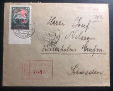 1921 Riga Latvia Registered Cover To Billesholm Sweden Sc#96 Back Seal