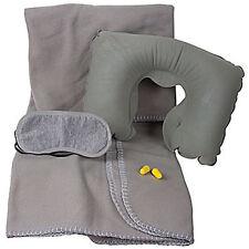 4 Piece Comfort Travel Set  Blanket, Sleep Mask, Pillow, Ear Plugs by KINGSLEY