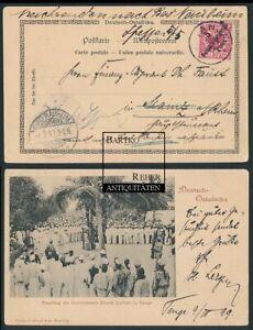 Stempel Tanga DOA Kolonialpost Empfang Gouverneur Liebert in Tanga AK 1899