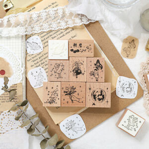 Vintage Wooden Rubber Stamp For DIY Stationery Scrapbooking Handbook Diary D`hw
