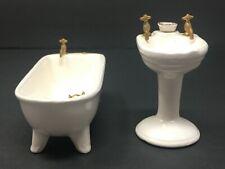 Vintage Dollhouse Miniature Shackman Porcelain White Bathtub Tub & Sink Bathroom