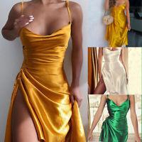 Women Sexy Sleeeveless Backless Strappy Split Badage Mini Dress Clubwear Party