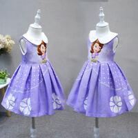 Kids Girls Princess Sofia Dress Sleeveless Baby Girl Sofia Costume For Party