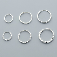 Quality Genuine Fine Silver Plain Small Twisted Sleeper Hoop Earrings Men Women