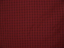 "Drapery Upholstery Fabric 1/2"" Box Stitch Plaid / Check Faux Silk - Wine"