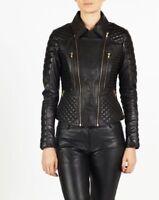 LFK Womens Genuine Lambskin Leather Motorcycle Slim fit Designer Biker Jacket