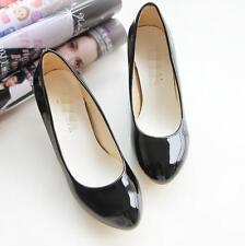 Round Toe Pumps High heels Dress Faux Patent Leather Casual Ladies Shoes Plus Sz