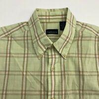 Van Heusen Button Up Shirt Men's Size 15.5 Short Sleeve Green Plaid Cotton Blend