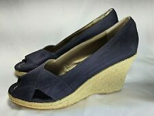 "Markon ""GIO"" size 9.5 M navy shimmer fabric espadrille wedge  womens heels"